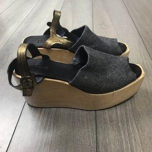 Rachel Comey Gray Wood Platform Strap Shoes Size 8